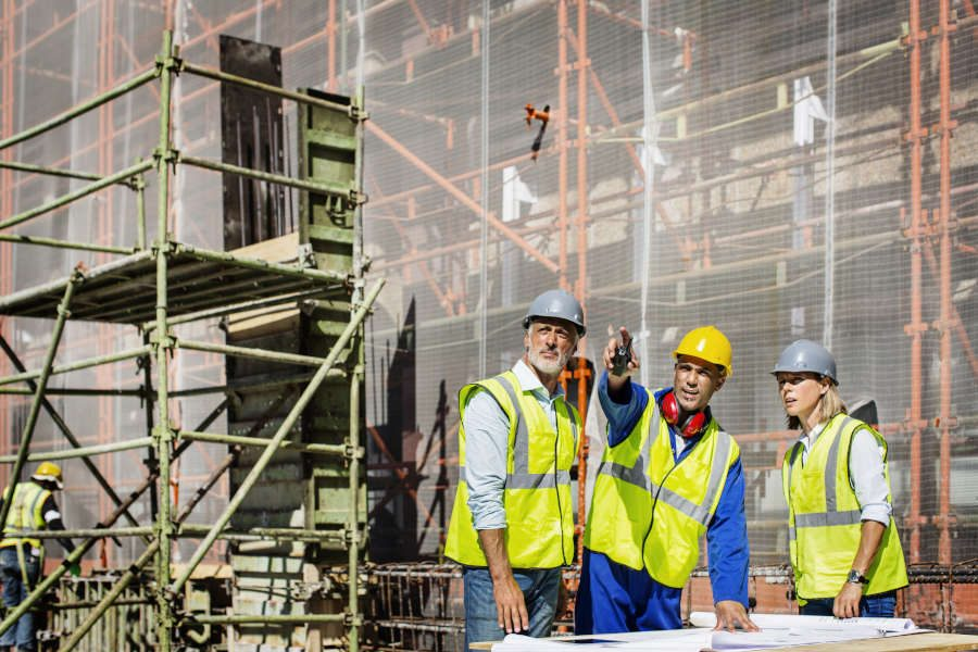 team of employees at a construction site